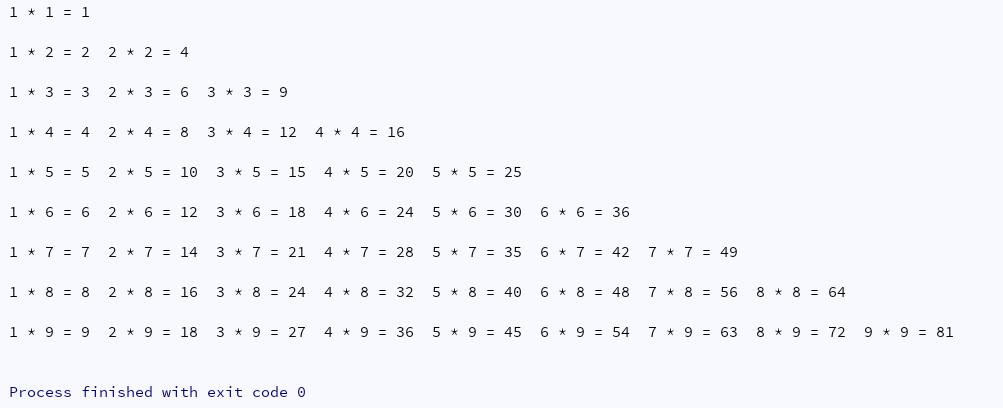 Python打印出九九乘法口诀